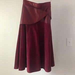 Oxblood leather and suede skirt